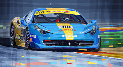 2012 Digital Art - Ferrari 458 Challenge Team Ukraine 2012 by Yuriy  Shevchuk