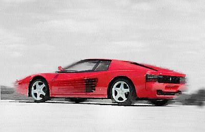 Old Mixed Media - Ferrari 512 Tr Testarossa Watercolor by Naxart Studio