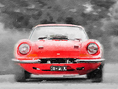 Old Mixed Media - Ferrari Dino 246 Gt Front Watercolor by Naxart Studio