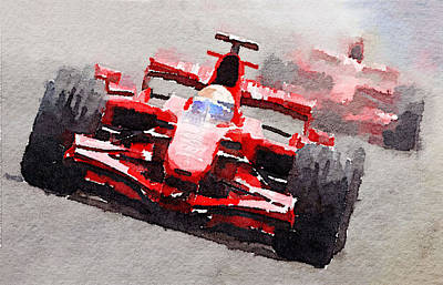 Ferrari F1 Race Watercolor Print by Naxart Studio