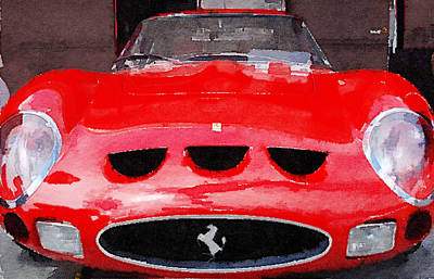 Old Mixed Media - Ferrari Front End Monterey Watercolor by Naxart Studio