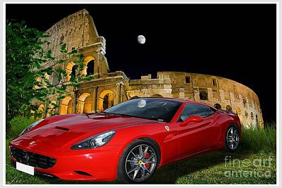 Prancing Digital Art - Ferrari Under Colosseum by Stefano Senise