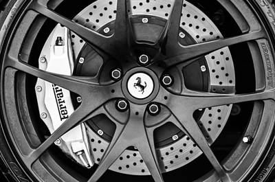 Car Photograph - Ferrari Wheel Emblem - Brake Emblem -0430bw by Jill Reger