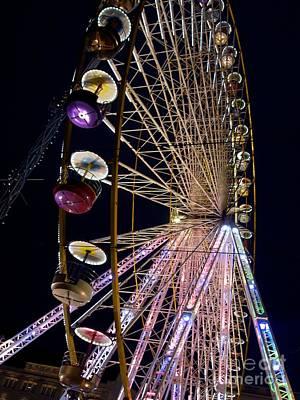 Ferris Wheel Night Photograph - Ferries Wheel by Bernard Jaubert