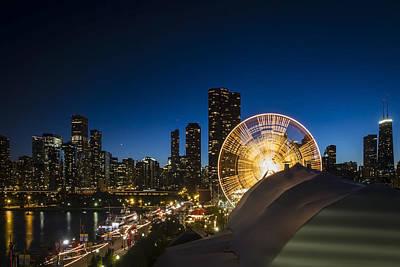 Ferris Wheel And Chicago Skyline Print by Sven Brogren