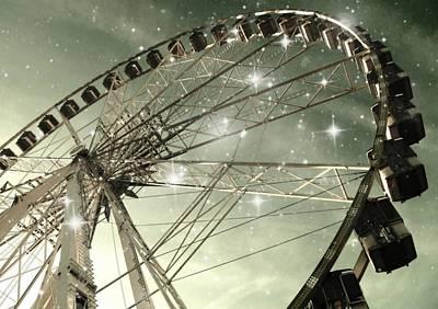 Surreal Ferris Wheel Photograph - Ferris Wheel At Night In Paris by Marianna Mills