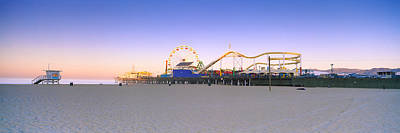 Rollercoaster Photograph - Ferris Wheel Lit Up At Dusk, Santa by Panoramic Images