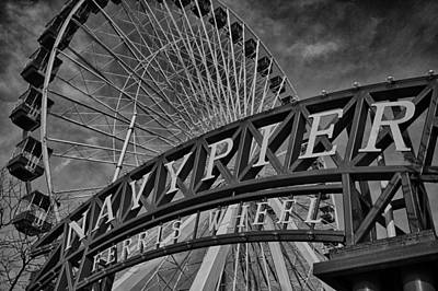 Ferris Wheel Night Photograph - Ferris Wheel Navy Pier by Mike Burgquist
