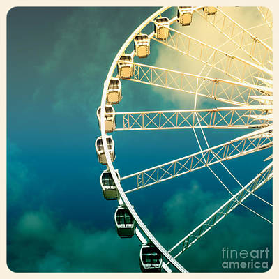 Instant Photograph - Ferris Wheel Old Photo by Jane Rix