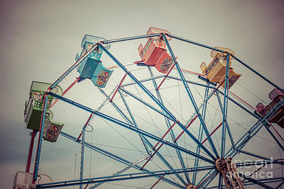 Ferris Wheel Vintage Photo In Newport Beach California Print by Paul Velgos