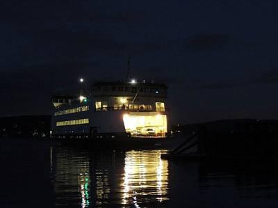 Ferry At Night Print by Keith Rautio