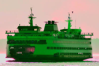 Seattle Photograph - Ferry In The Haze by Zoltan Spitzer