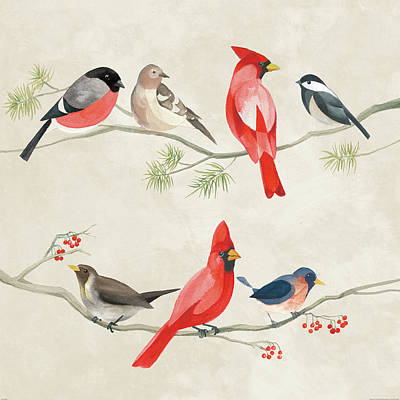 Chickadee Painting - Festive Birds I by Danhui Nai