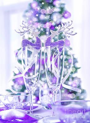 Festive Christmas Dinner Print by Anna Omelchenko