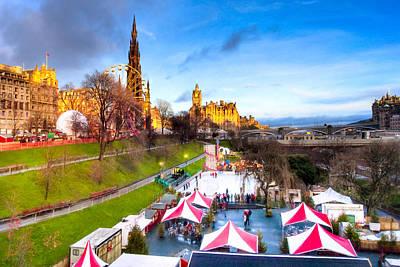 British Photograph - Festive Princes Street Gardens - Edinburgh by Mark E Tisdale