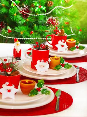 Festive Table Setting Print by Anna Om