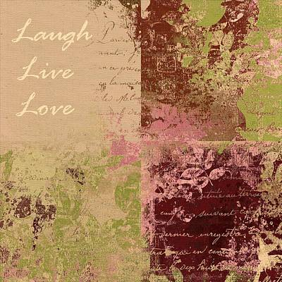 Nature Abstract Digital Art - Feuilleton De Nature - Laugh Live Love - 01c4at by Variance Collections
