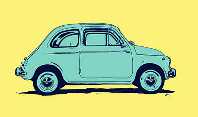 Yellow Drawing - Fiat 500 by Giuseppe Cristiano
