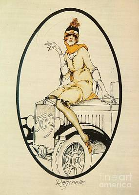 Advertisment Painting - Fiat Flapper Poster - 1920's by Pg Reproductions