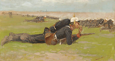 Army Painting - Field Drill For The Prussian Infantry  by Frederic Remington