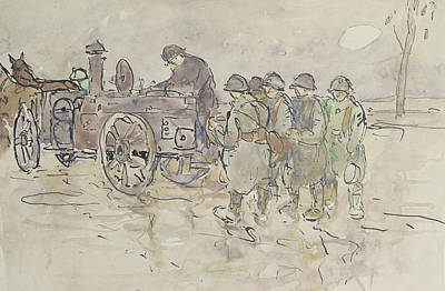 Ww1 Drawing - Field Kitchen On The Road To Belfort by Louis Robert Antral