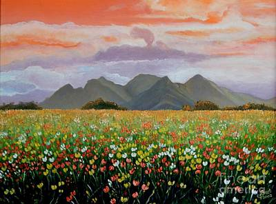 Carolinestreet Painting - Field Of Flowers by Caroline Street