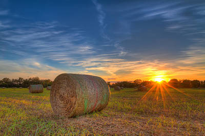 A Hay Bale Sunset Print by Tim Stanley