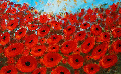 Poppies Field Painting - Field Of Poppies by Catherine Harms