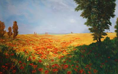 Poppies Field Painting - Field Of Poppies by Jean Walker