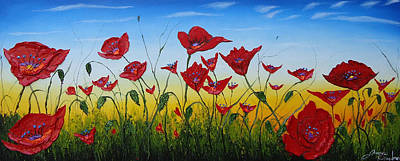 Field Of Red Poppies 4 Print by Portland Art Creations