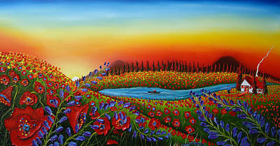 Field Of Red Poppies At Dusk 2 Print by Portland Art Creations
