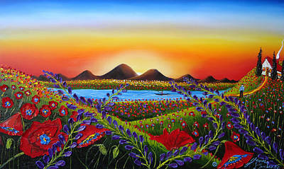 Field Of Red Poppies At Dusk 3 Print by Portland Art Creations