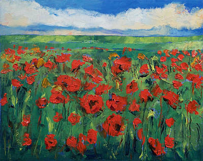 Field. Cloud Painting - Field Of Red Poppies by Michael Creese