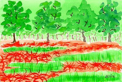 Reds Of Autumn Painting - Field Of Red Spider Lilies by Beverly Claire Kaiya