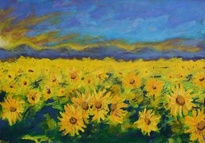 Field Of Sunflowers 2009 Print by Piotr Wolodkowicz