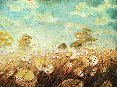 Tuscan Sunset Painting - Field Of White Blossoms II by Christopher Clark