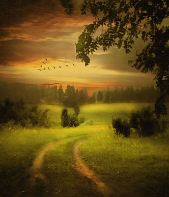 Orange Painting - Fields Of Dreams by Georgiana Romanovna