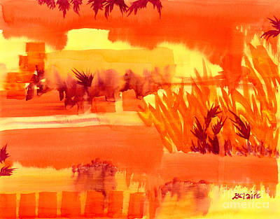 Reds Of Autumn Painting - Fiery Autumn Field by Beverly Claire Kaiya