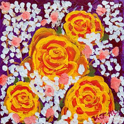Abstract Painting - Fiery Bouquet by Vicki Maheu