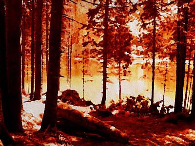 Fiery Red Landscape Print by Maggie Vlazny