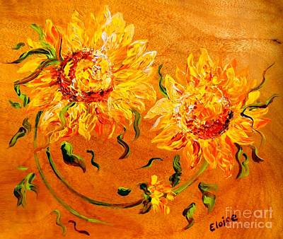 Sunflower Field Painting - Fiery Sunflowers On Wood by Eloise Schneider