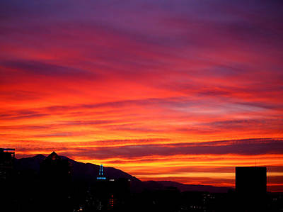 Salt Lake Photograph - Fiery Sunset by Rona Black