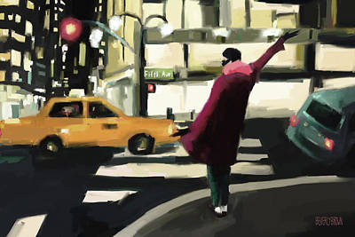 Night Scenes Painting - Fifth Avenue Taxi New York City by Beverly Brown Prints