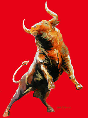 Fight Bull Charge In Red Original by Jose Espinoza