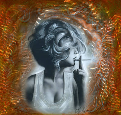 Cigarette Mixed Media - Woman by Luis  Navarro