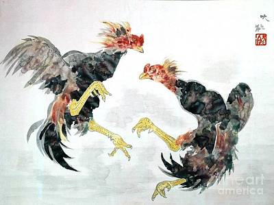 Taikan Painting - Fighting Chickens by Pg Reproductions