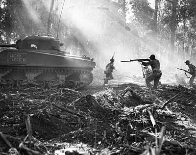 Campaign Photograph - Fighting On Bougainville by Underwood Archives