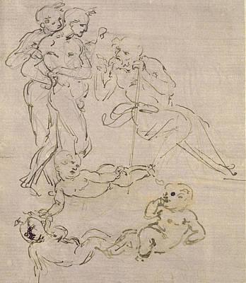 Nude Children Drawing - Figural Study For The Adoration Of The Magi by Leonardo Da Vinci