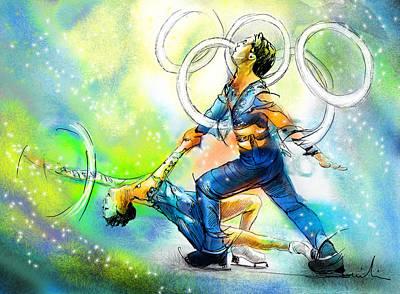 Figure Skating 01 Print by Miki De Goodaboom