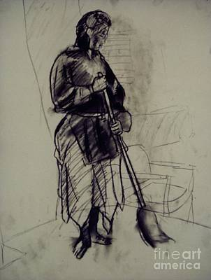 Whistler Drawing - Figure Sketch With Broom by Whistler Kenworthy